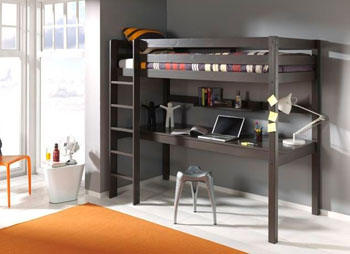 Drewniane łóżko dla dzieci z biurkiem Pino – sosna ciemnoszara