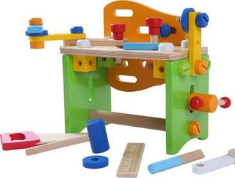 Drewniany zestaw narzędzi: warsztat, skrzynka na narzędzia, pojazdy