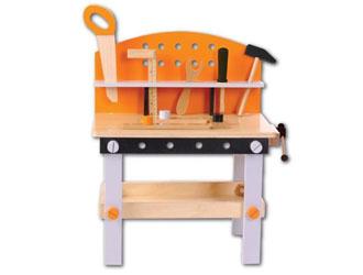 Drewniany warsztat dla dzieci + zestaw narzędzi 32 el.