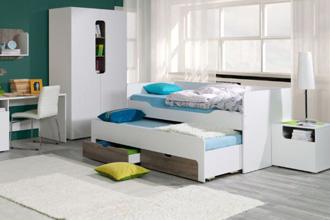 Rico łóżko podwójne do pokoju dziecięcego białe