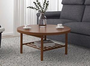Duży okrągły stolik kawowy z półką, do salonu