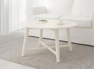 Duży biały okrągły stolik do salonu 90 cm