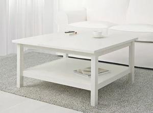 Duży biały stolik do salonu, z półką 90x90 cm