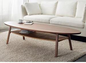 Owalny stolik do salonu z półką