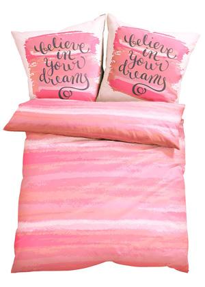 Różowa pościel 'believe in your dreams' 135×200 cm