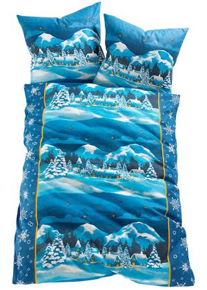 """Flanelowa pościel """"Tirol"""" niebieska 135x200"""