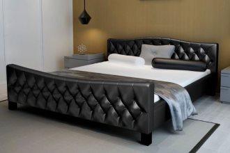 Rama łóżka ze sztucznej skóry 180 x 200 cm, czarna