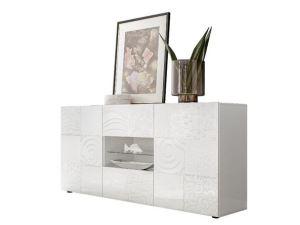 Szeroka komoda do salonu i sypialni biała połysk VERO KOMODA 2+2