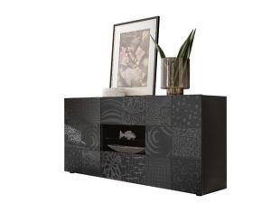 Szeroka komoda do salonu i sypialni czarna połysk VERO KOMODA 2+2