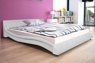 Tapicerowana rama łóżka 160×200 cm, skórzana biała