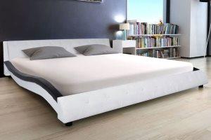 Tapicerowana rama łóżka 180×200 cm, ze sztucznej skóry, czarno-biała