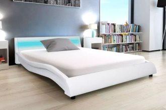 Biała rama łóżka tapicerowana 140x200 cm