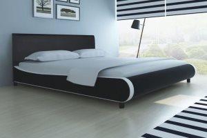 Czarne łóżko skórzane, 180 x 200 cm