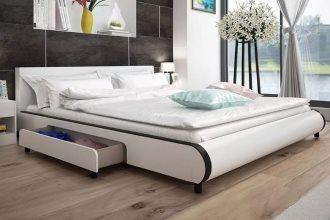 Skórzane tapicerowane łóżko z szufladami białe 180 x 200 cm