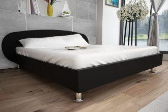 Skórzane tapicerowane Łóżko do sypialni 180 x 200 cm, czarne