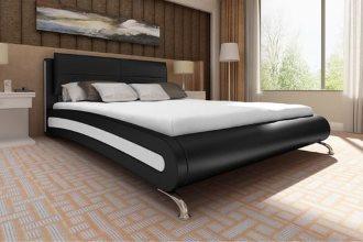 Czarne łóżko ze sztucznej skóry, 140 x 200 cm