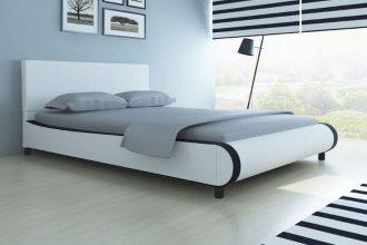 Białe łóżko do sypialni ze sztucznej skóry, 140 x 200 cm