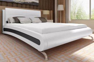 Skórzane tapicerowane łóżko z materacem 140 x 200 cm biało-czarne