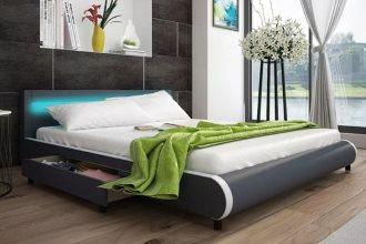 Łóżko szara eko skóra z szufladami i pasem LED 180 cm