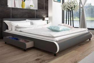 Skórzane tapicerowane łóżko z szufladami szare 180 x 200 cm
