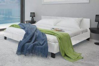 Białe łóżko do sypialni z materacem 140 x 200 cm