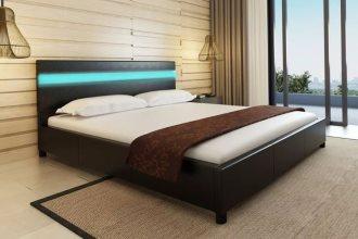Łóżko ze sztucznej skóry z taśmą LED, 180 x 200 cm, czarne