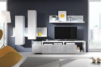 Meble systemowe Bota – biały/beton – nowoczesna meblościanka do salonu