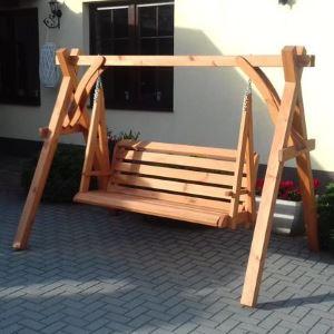 Drewniana Huśtawka Ogrodowa – Masywna- Malowana