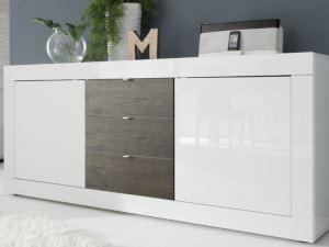 Biała KOMODA z szufladami BASIC 2+3 + ciemny front
