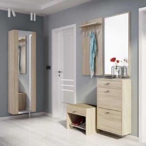 Zestaw mebli do przedpokoju z lustrem w kolorze dąb sonoma