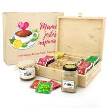 Zestaw herbat, miód i imbir w skrzynce dla mamy - Jesteś Wspaniała