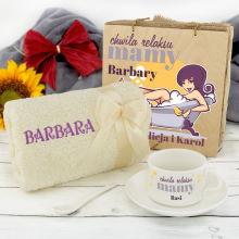 Zestaw prezentowy ręcznik i filiżanka - Relaks Mamy