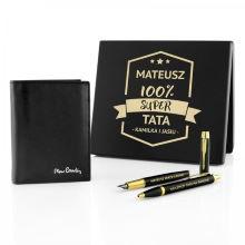 Portfel Pierre Cardin, pióro i długopis Parker dla taty - 100%