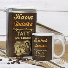 Personalizowany zestaw prezentowy dla taty: puszka na kawę i kubek