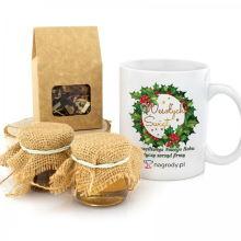 Kubek, miody i herbata na prezent na święta - Ostrokrzew