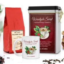 Kawa, puszka i kubek z nadrukiem na święta Świąteczna Kawka