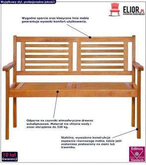 Drewniana ławka ogrodowa infis – brązowa