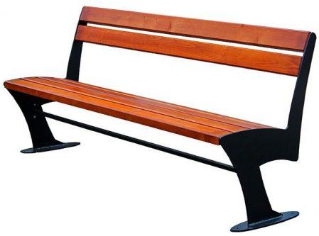 Stalowa ławka parkowa zoio 2x 180 cm – 84 kolory orzech