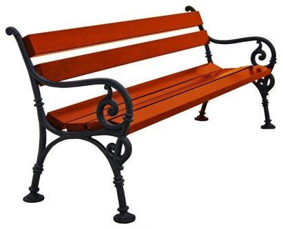 Ławka parkowa fabio 2x 150cm – 7 kolorów orzech