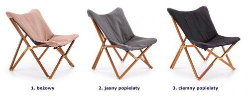 Wypoczynkowy fotel składany kasan – jasny popiel