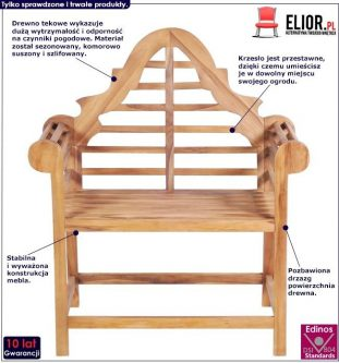 Zestaw drewnianych krzeseł ogrodowych niclos – brązowy