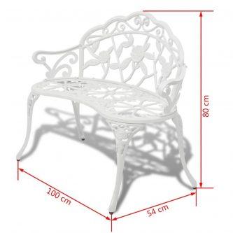 Metalowa ławka ogrodowa loryn – biała