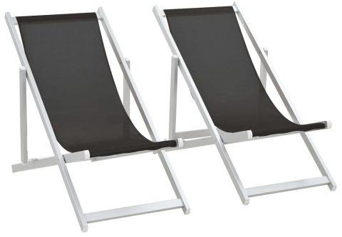 Składane leżaki plażowe strand – czarne
