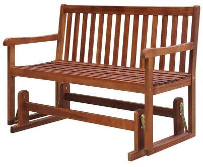 Drewniana ławka ogrodowa z huśtawką leos – brązowa