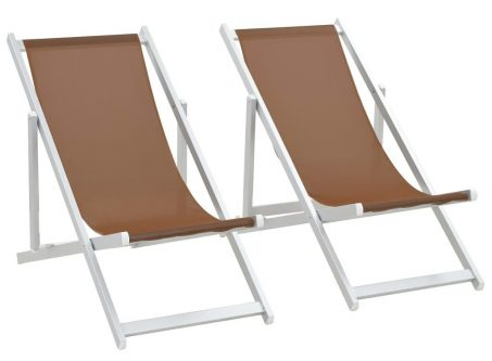 Składane krzesła plażowe strand – brąz