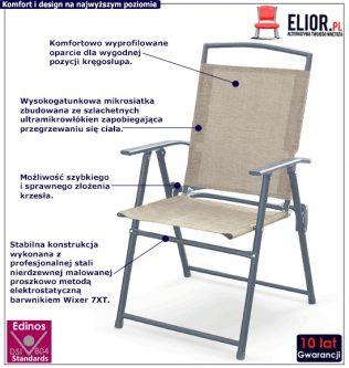 Składane krzesło ogrodowe soner – popiel