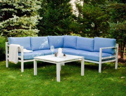 Narożnik ogrodowy ze stolikiem alluminio