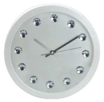 Okrągły zegar ścienny z cyrkonami diamanti