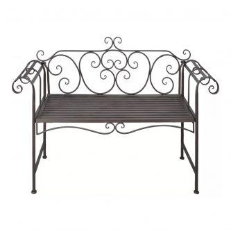 Metalowa ławka ogrodowa konta – brązowa