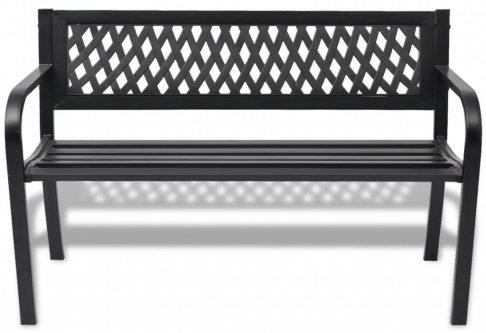 Metalowa ławka ogrodowa cald – czarna